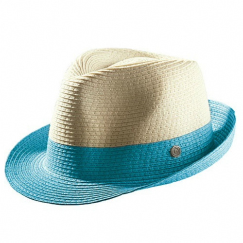 Bugatti Cream Straw Trilby Hat with coloured band & trim - Blue